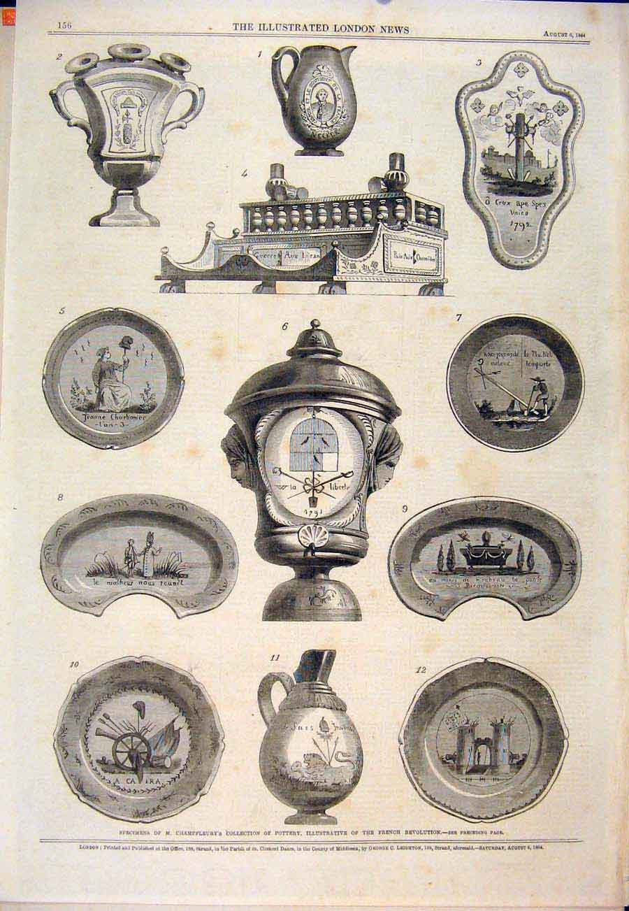 Print Pottery Champfleury French Revolution 1864 56Maa1 Old Original