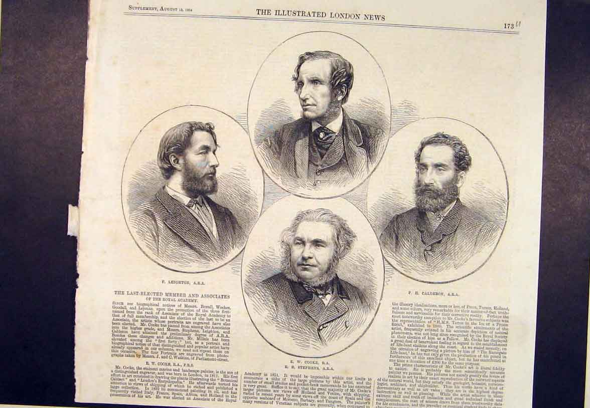Print Portrait Leighton Cooke Calderon Stephens 1864 73Umaa1 Old Original