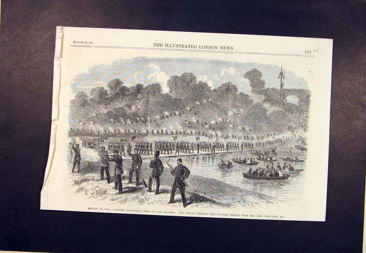 Print Cheshire Volunteer Roodee River Pontoon Bridge Dee 1864 85Umaa1 Old Original