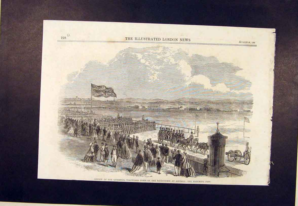 Print Aintree Racecourse Races Liverpool Corps 1864 28Umaa1 Old Original