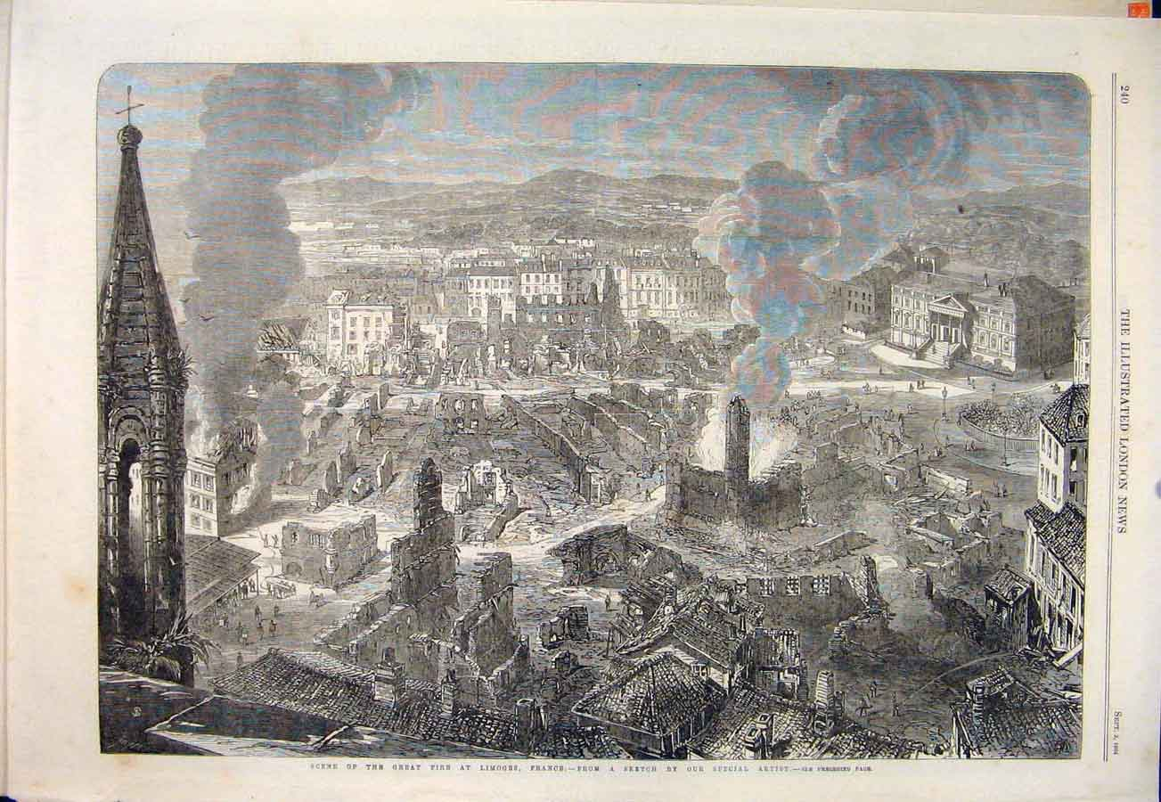 Print Great Fire Limoges France Ruins Fete Napoleon 1864 40Maa1 Old Original