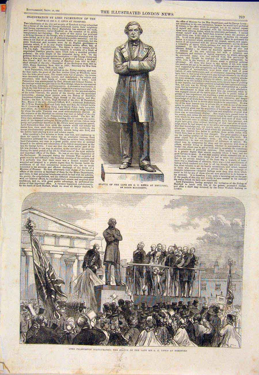 Print Statue Lewis Hereford Palmerston 1864 69Maa1 Old Original