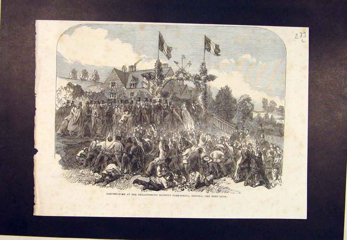 Print Redhill Philanthropic Society Farm School Harvest 1864 73Lmaa1 Old Original