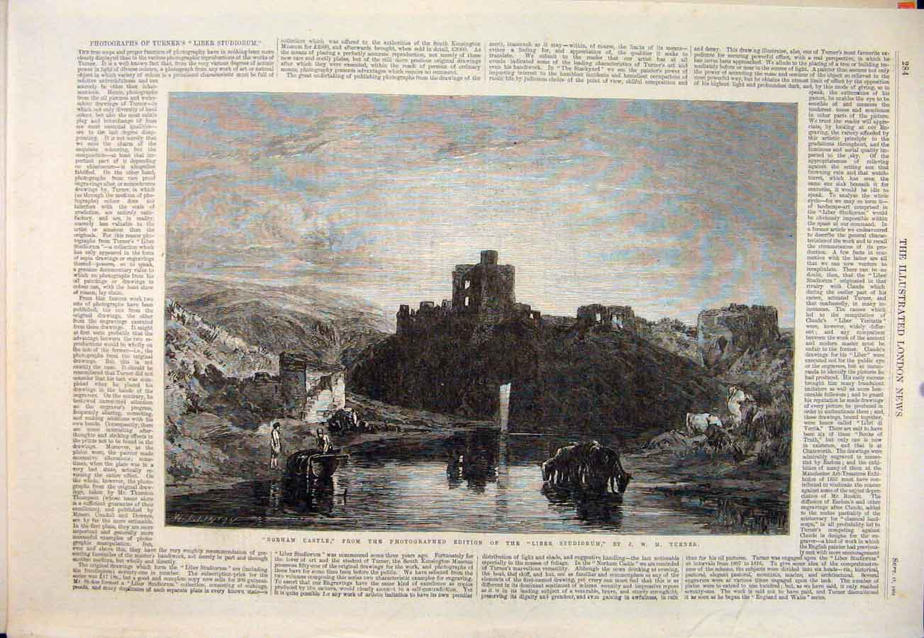 Print Nobham Castle Turner Liber Studiorum Photograph 1864 84Maa1 Old Original