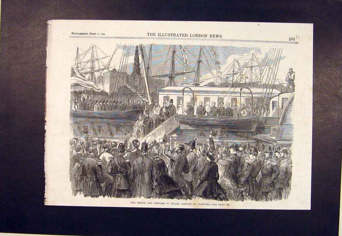 Print Elsinore Prince Princess Wales Ship Royal 1864 93Umaa1 Old Original