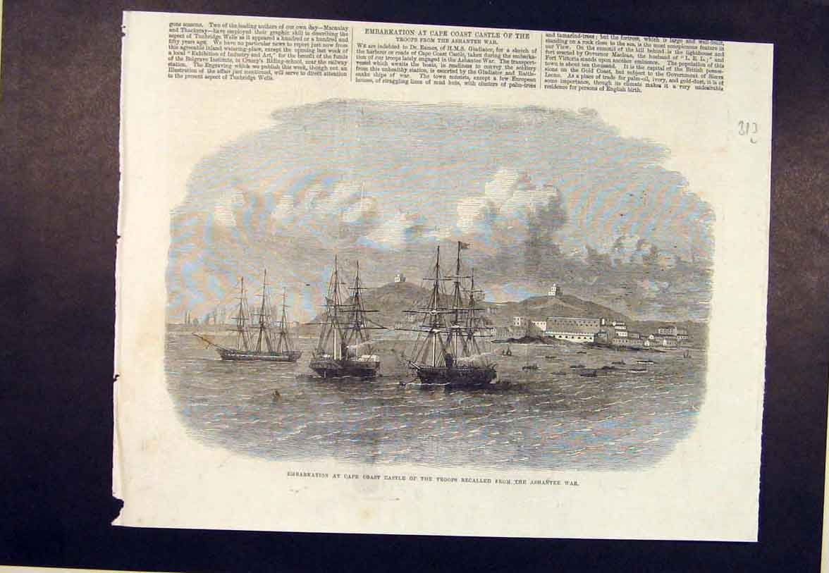 Print Cape Coast Castle Troops Ashantee War Ship Fleet 1864 13Lmaa1 Old Original