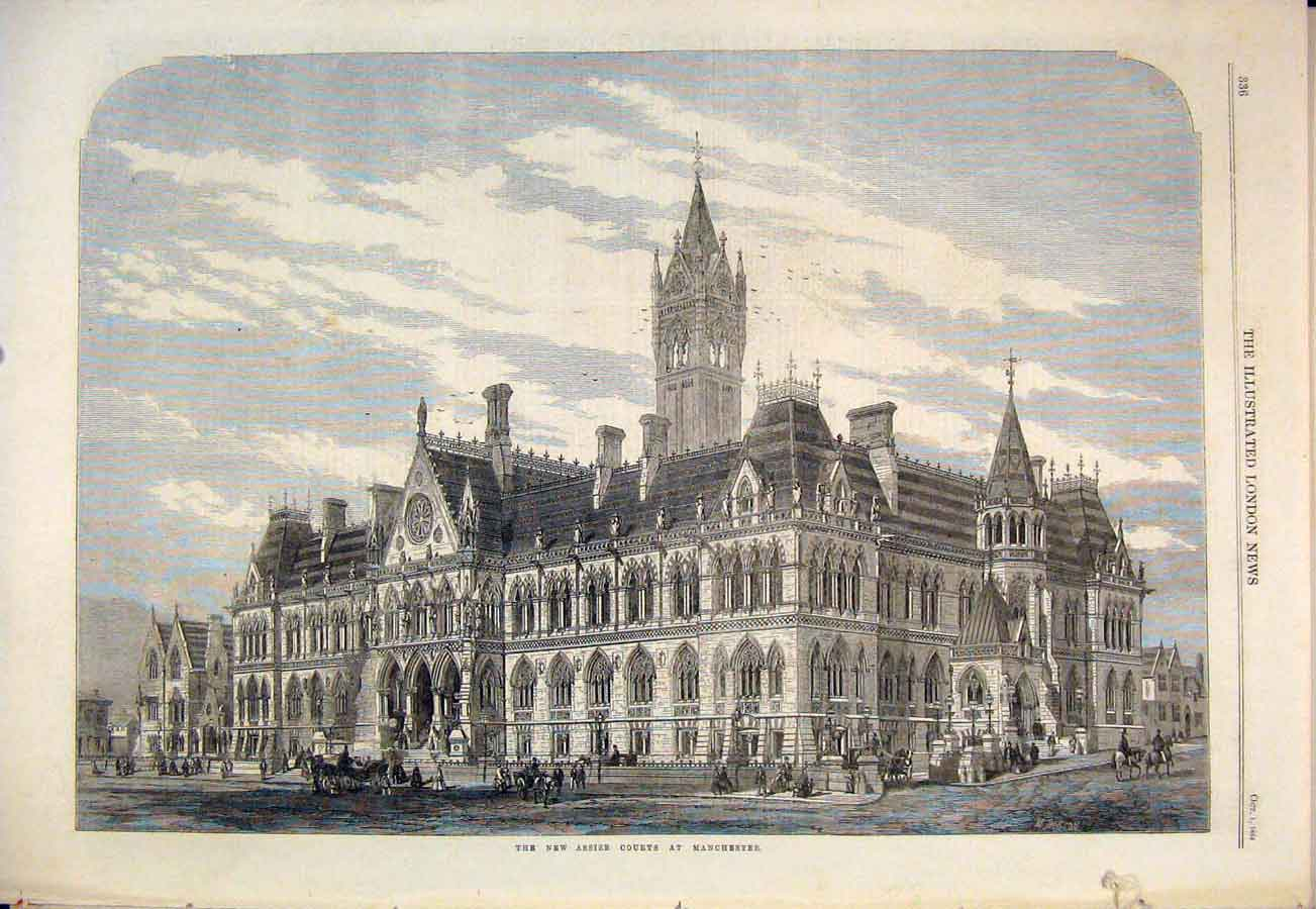 Print Assize Courts Manchester Building 1864 36Maa1 Old Original