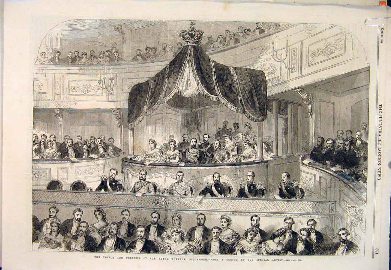 Print Royal Theatre Stcokholm Sweden Prince Wales 1864 81Amaa1 Old Original
