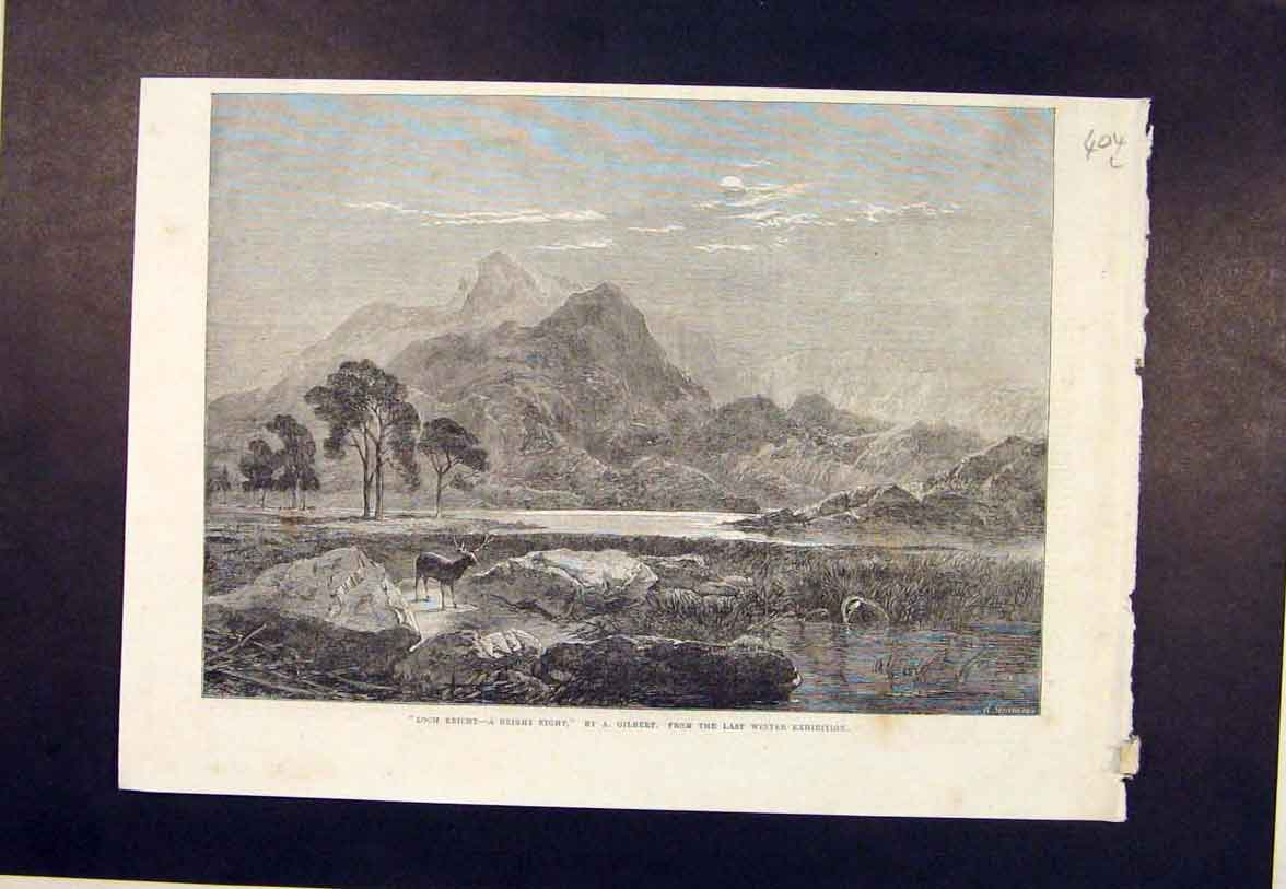 Print Loch Ericht Gilbert Bright Night Stag Mountain 1864 04Lmaa1 Old Original