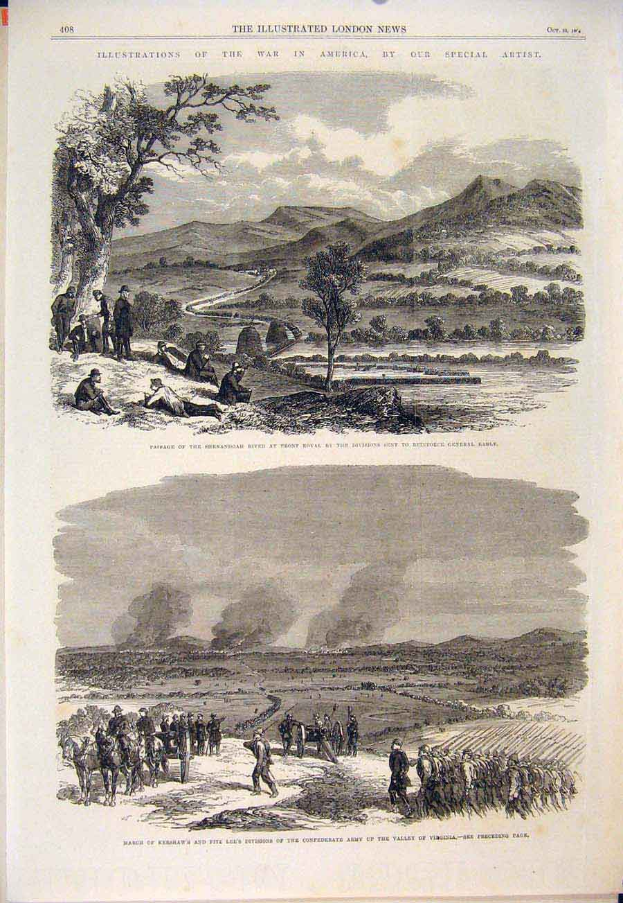 Print Shenandoah River Royal Kershaw Viginia Civil War 1864 08Maa1 Old Original