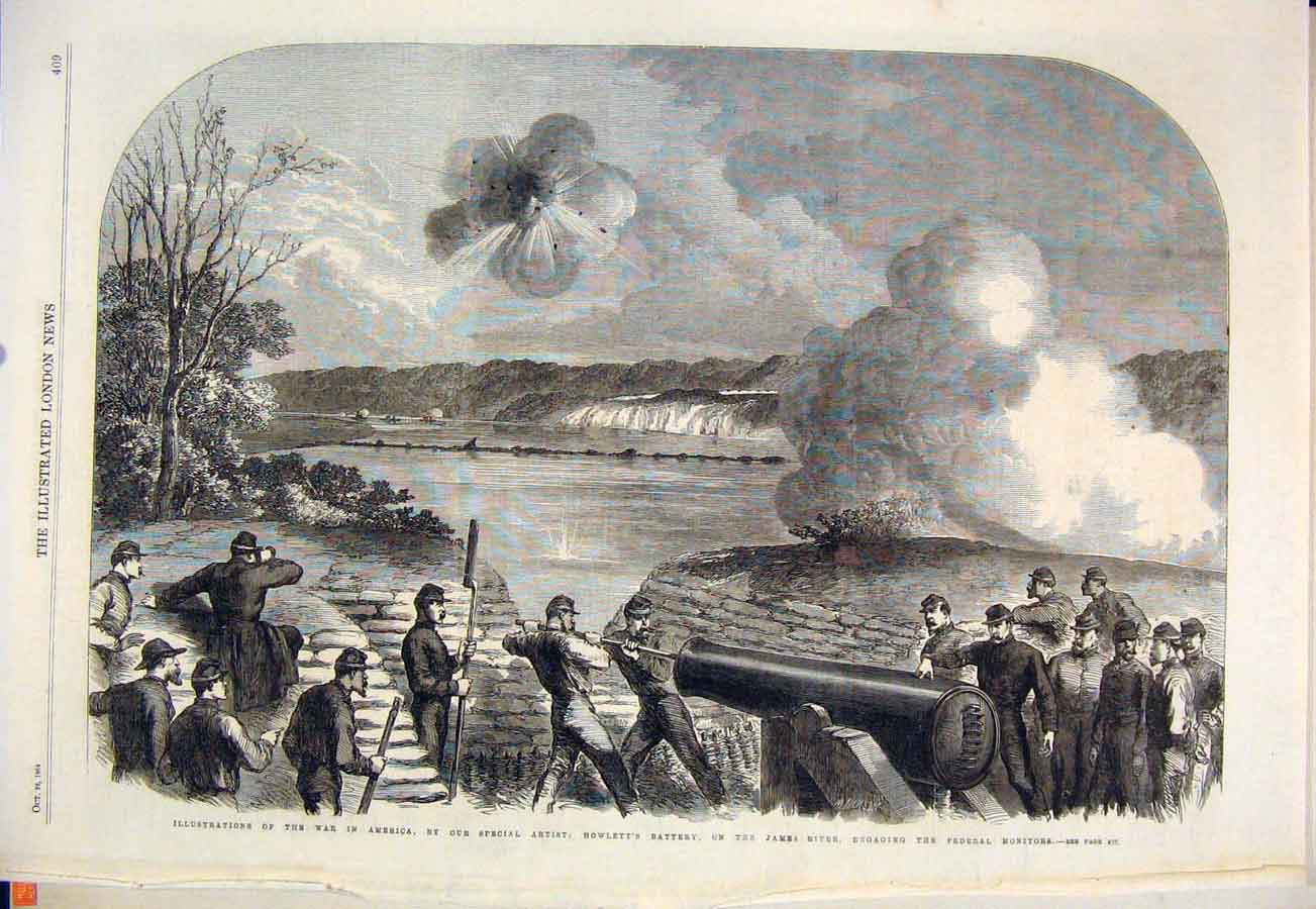 [Print America War James River Cannon Soldiers 1864 09Maa1 Old Original]
