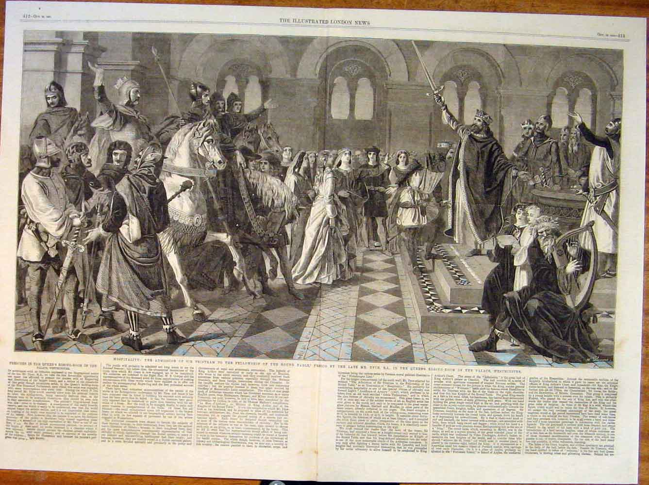 Print Round Table Fresco Dyce Palace Westminster Tristram 11Tmaa1 Old Original