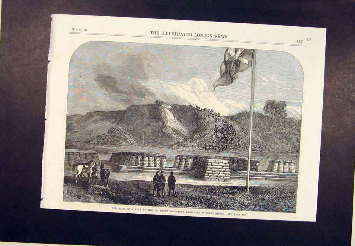 Print Southampton Hants Volunteer Engineers Mine 1864 17Umaa1 Old Original