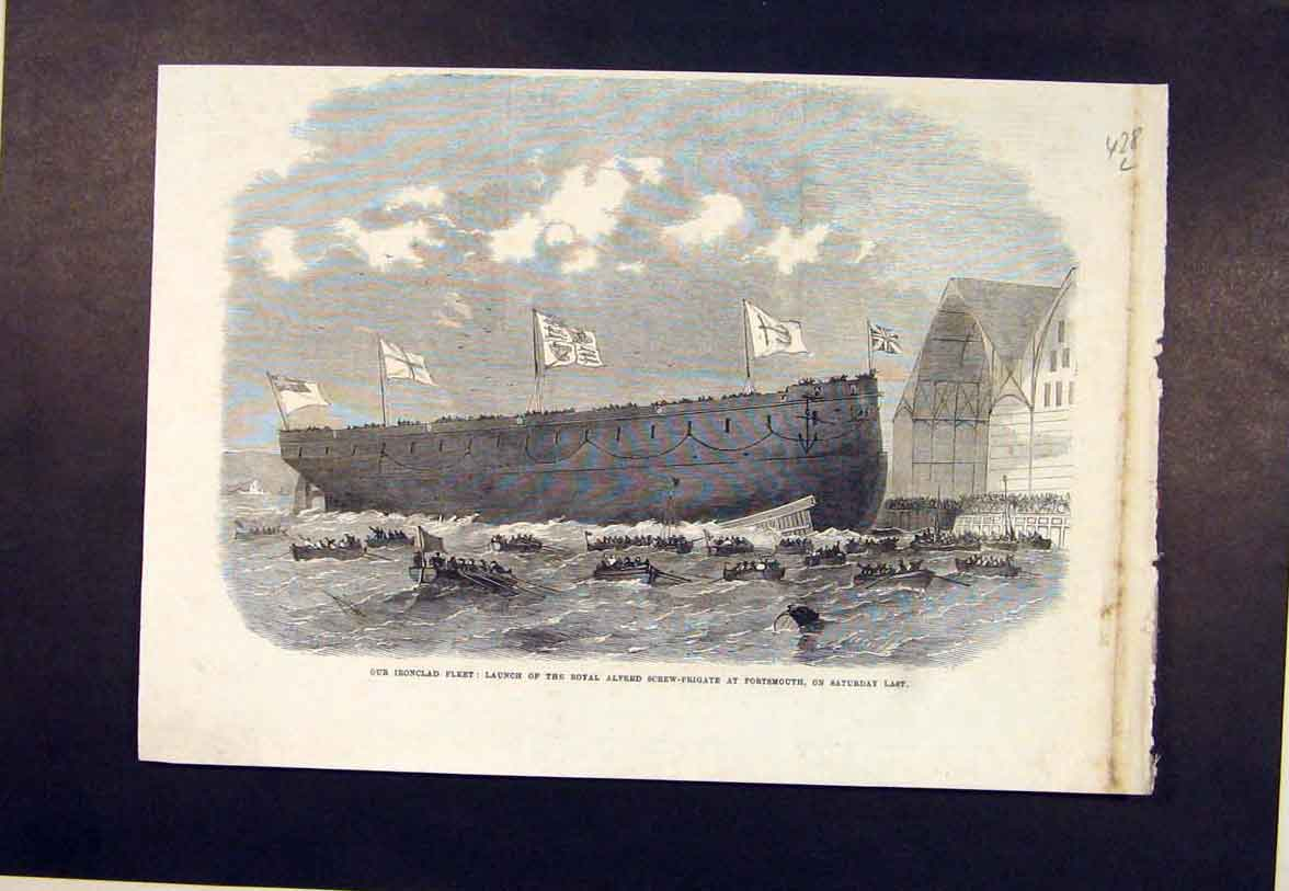 Print Iron Clad Portsmouth Ship Royal Alfred Screw Frigate 28Lmaa1 Old Original