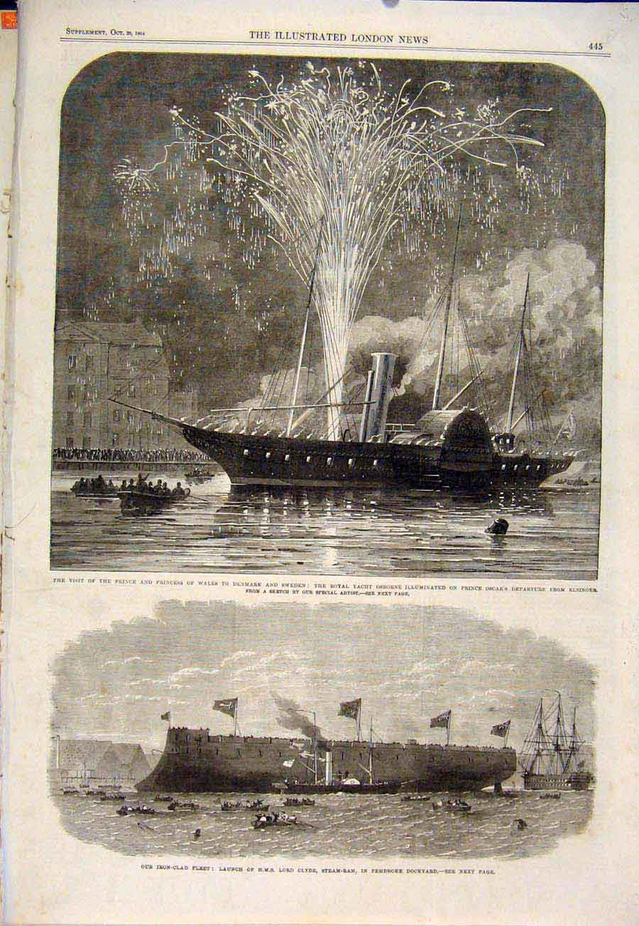 Print Royal Yacht Prince Princess Wales Clyde Osbourne 1864 45Maa1 Old Original