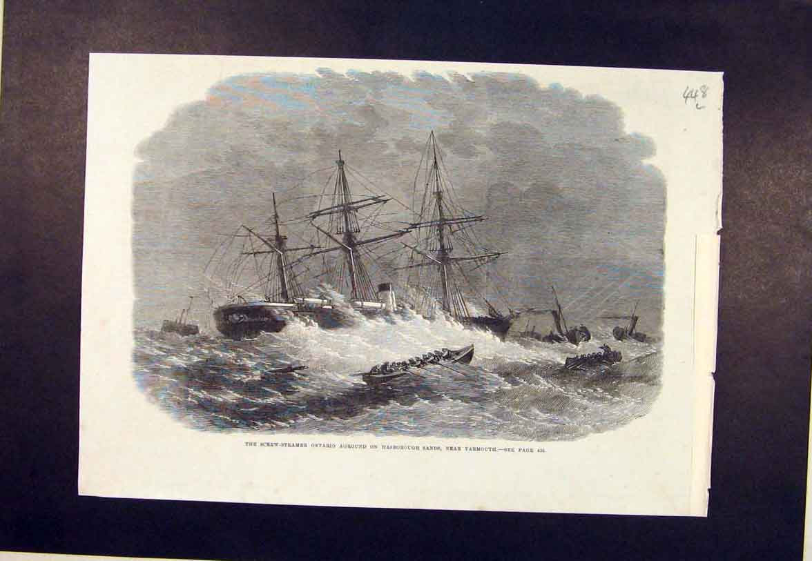 Print Ontario Steamer Harborough Sands Yarmouth Wreck 1864 48Lmaa1 Old Original
