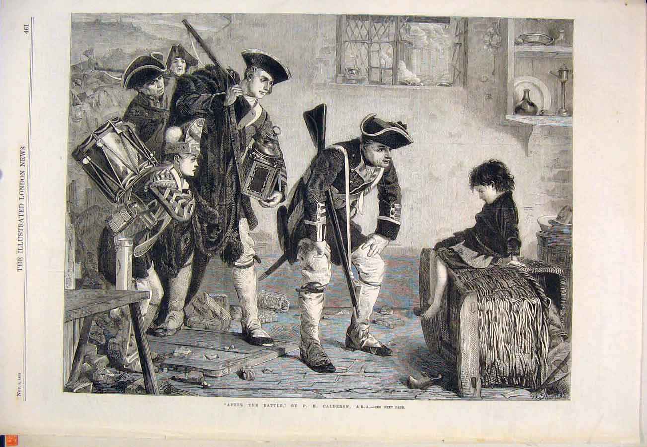 Print Battle Calderon Child Soldiers Troops Fine Art 1864 61Maa1 Old Original