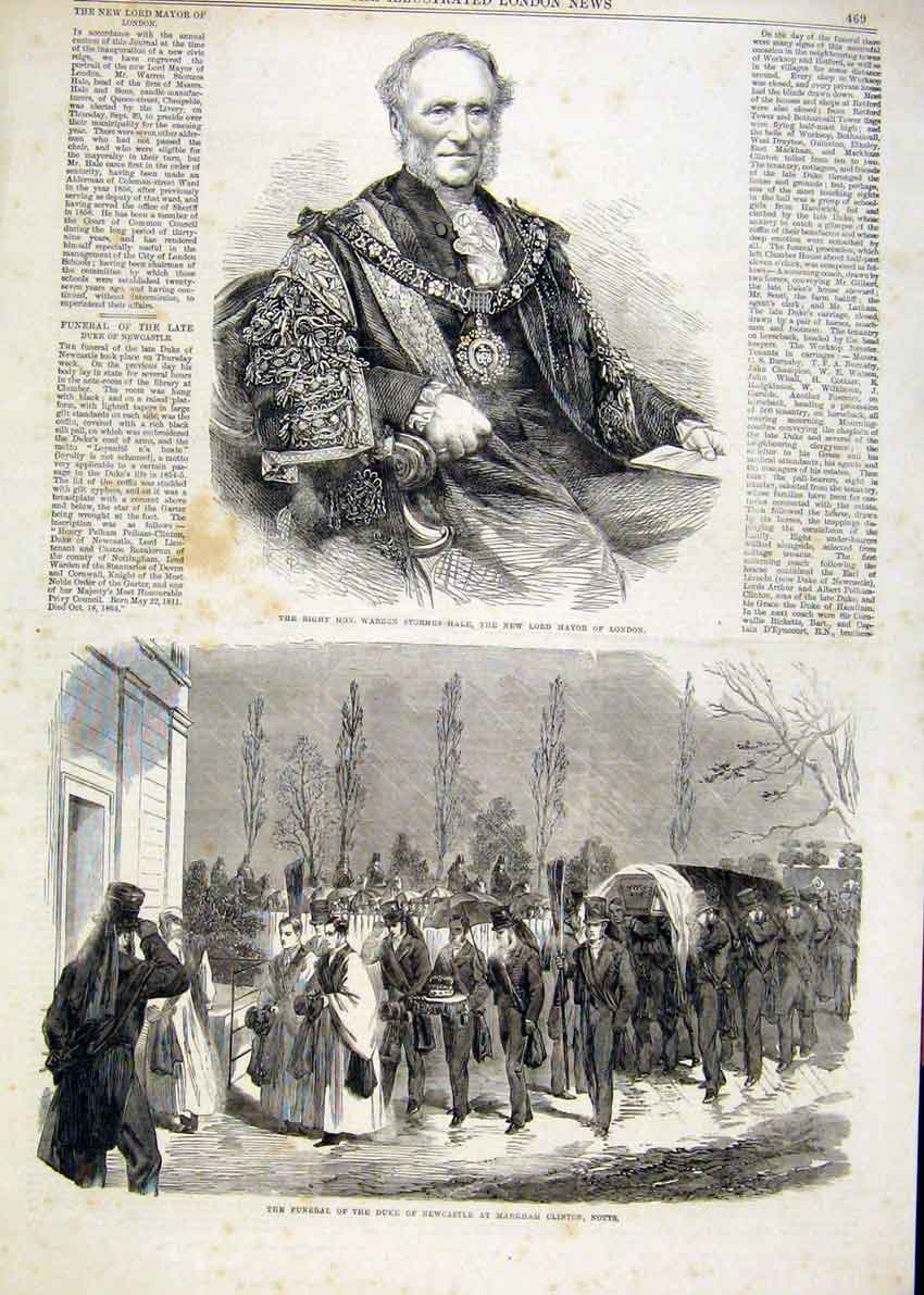 Print Portrait Hale London Mayor Duke Newcastle Funeral 1864 69Maa1 Old Original