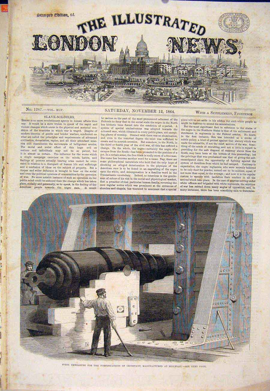 Print Millwall Cannon Cronstadt Steel 1864 78Maa1 Old Original