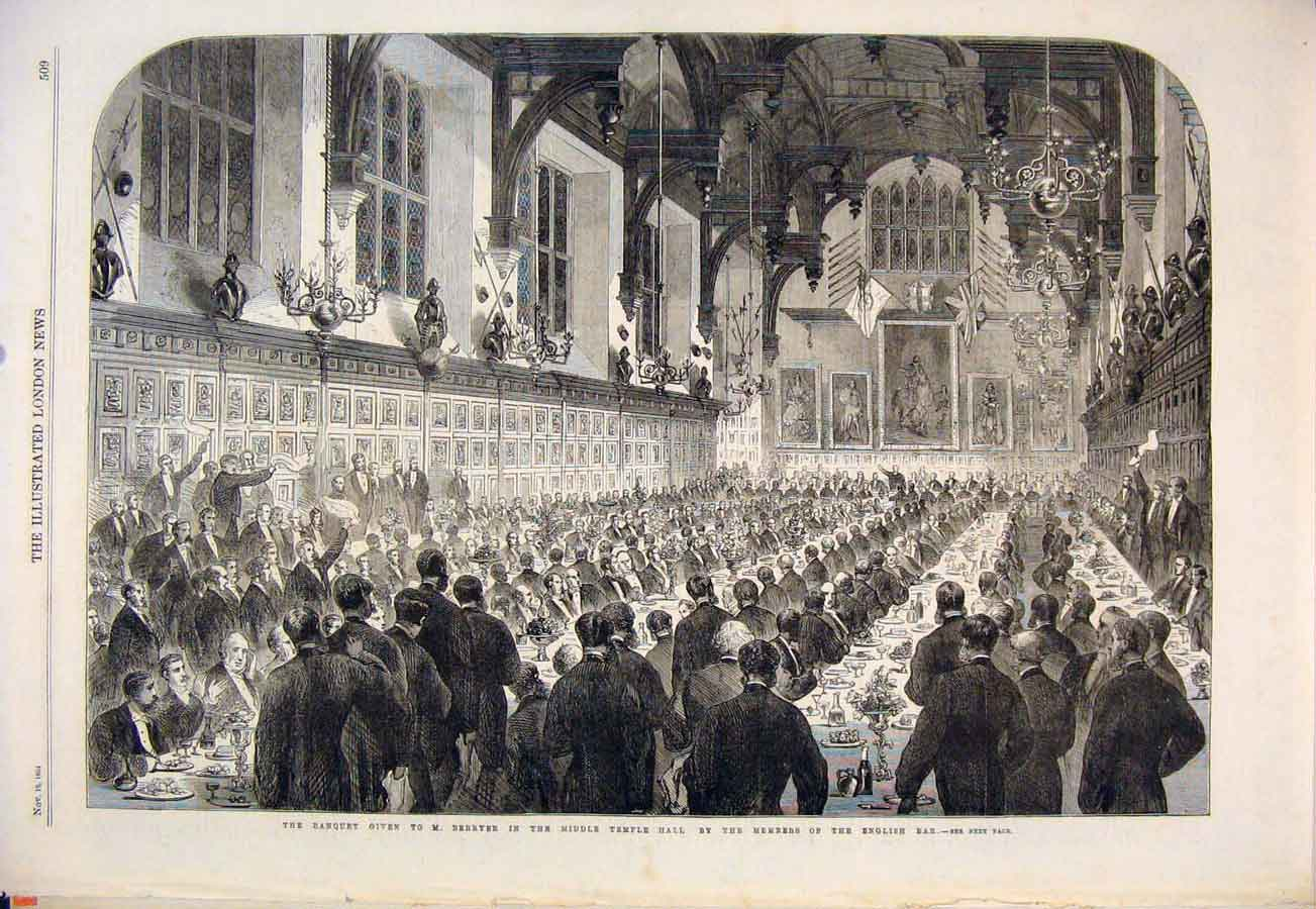 Print Banquet Berryer Temple Hall Members English Bar 1864 09Maa1 Old Original