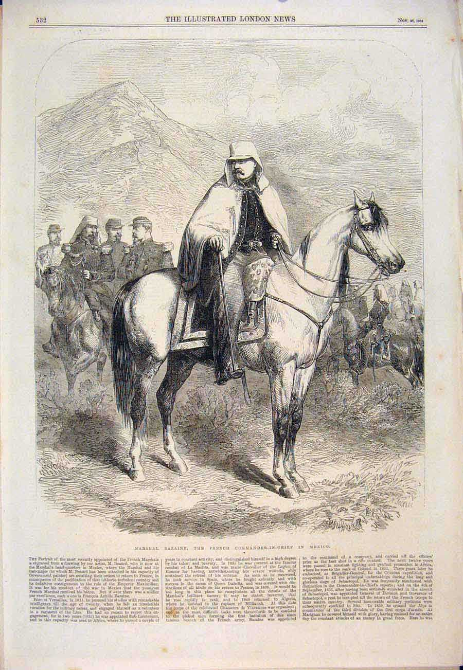 Print Marshall Bazaine French Mexico Commander-In-Chief 1864 32Maa1 Old Original