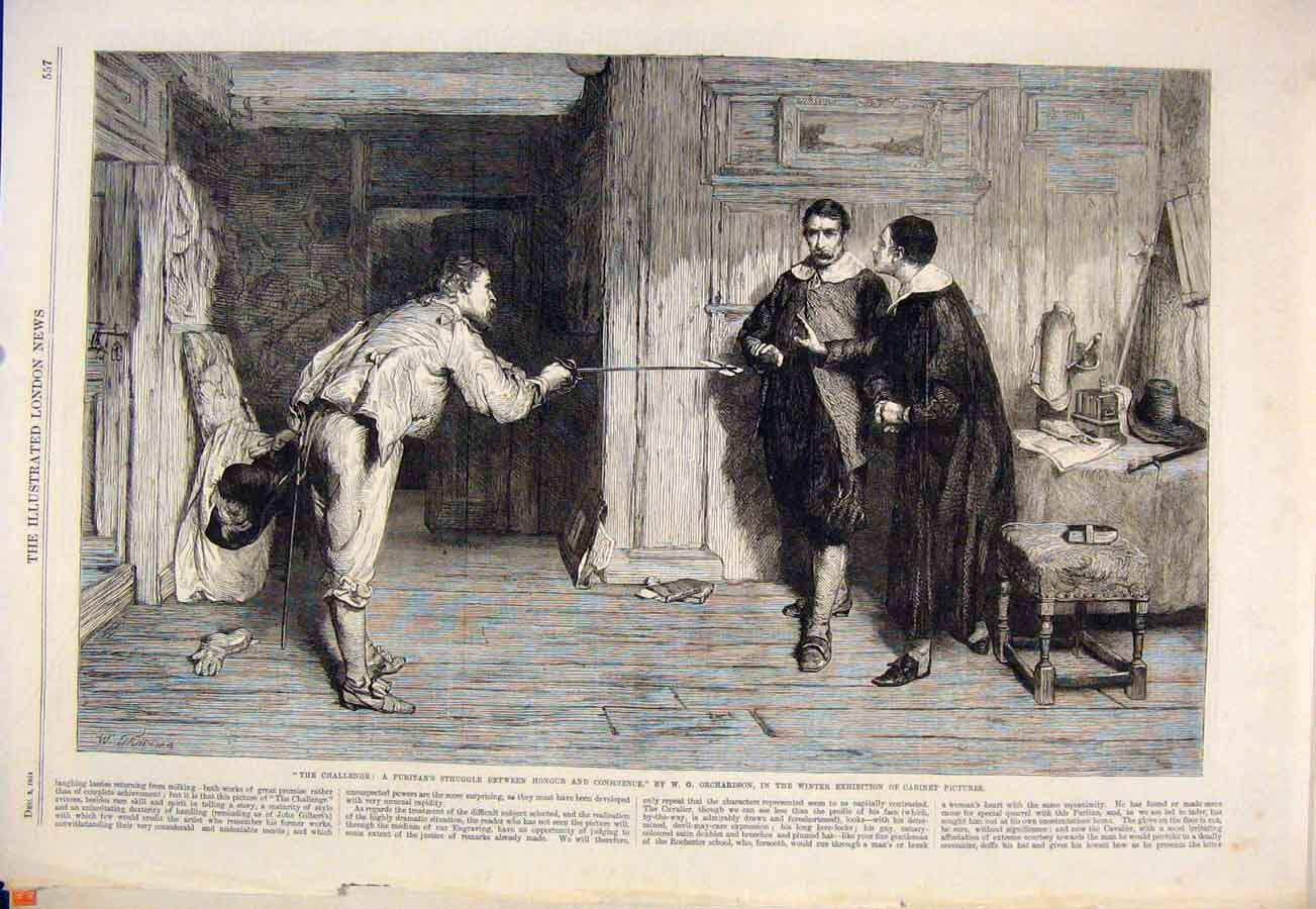 Print Challenge Honour Conscience Orchardson Cabinet 1864 57Maa1 Old Original