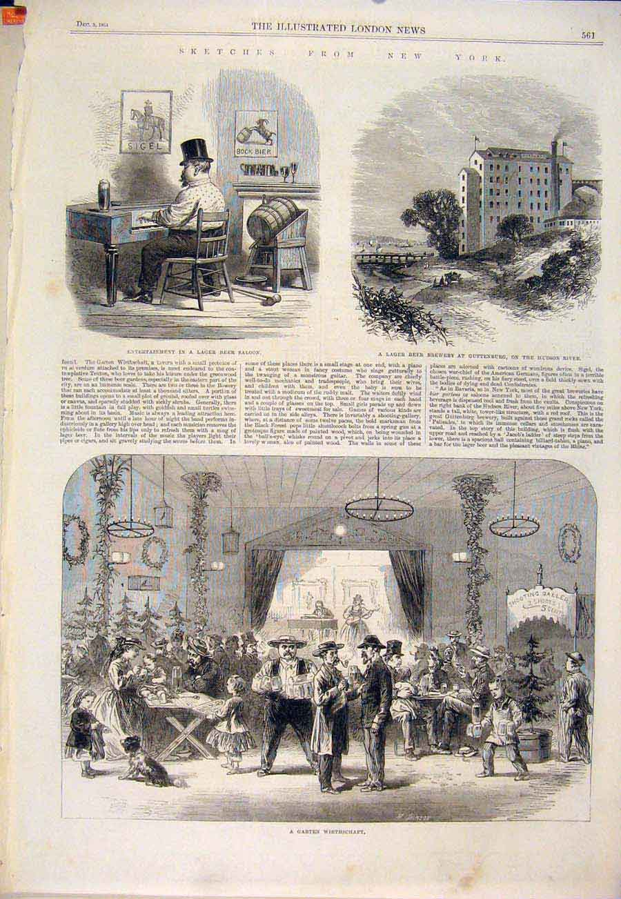 Print Sketches New York America United States Usa Hudson 1864 61Maa1 Old Original
