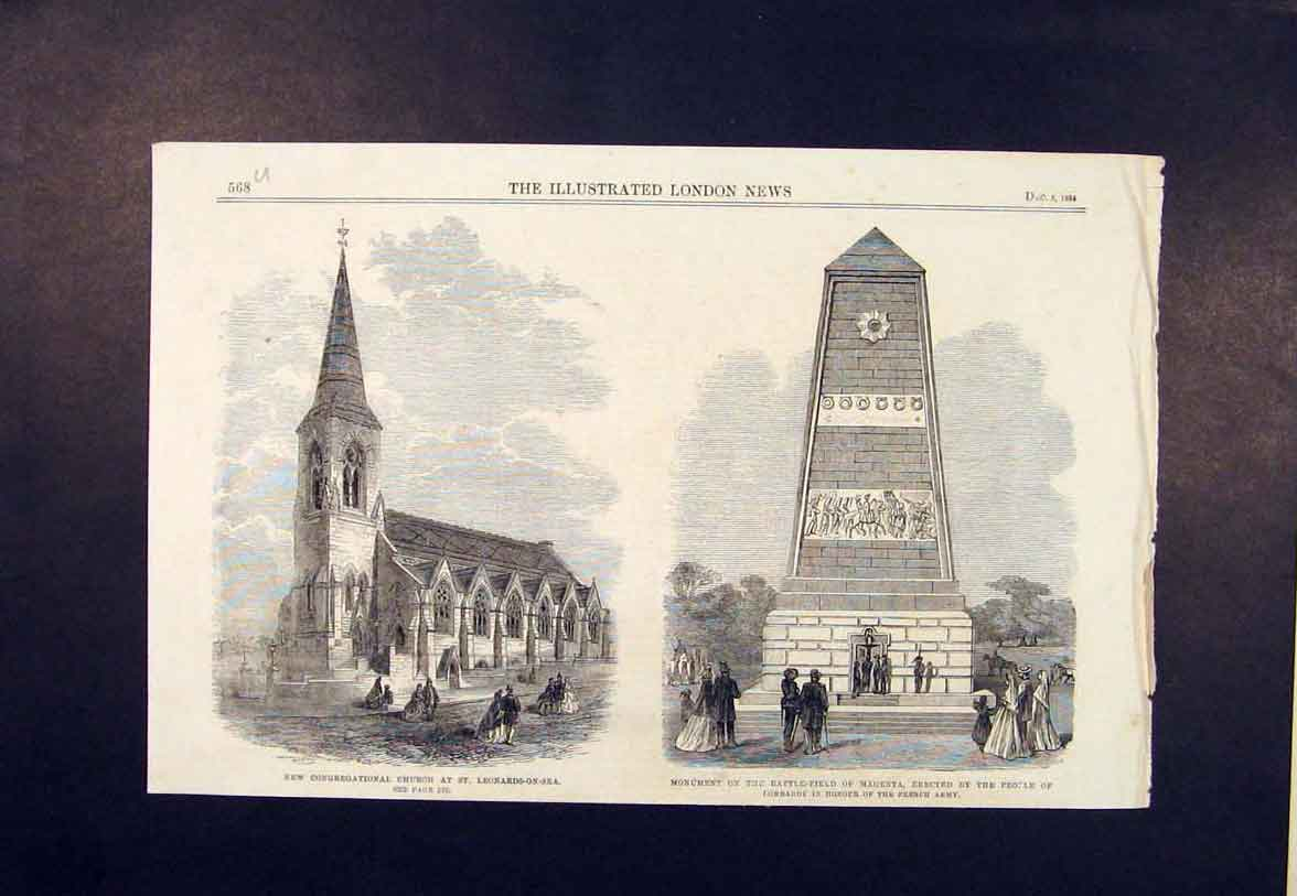 Print Church St Leonards-On-Sea Monument Magenta 1864 68Umaa1 Old Original