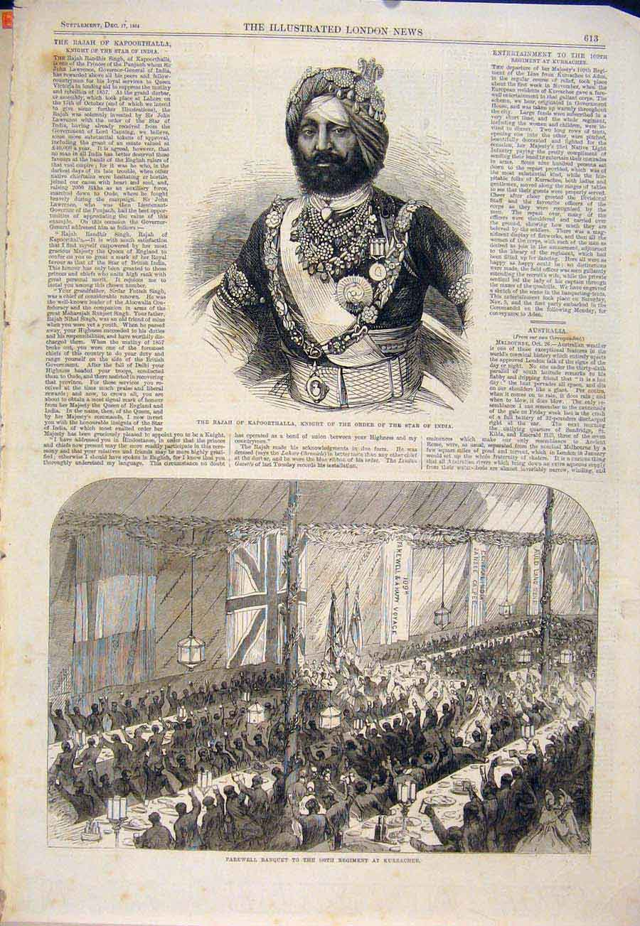 Print Kurrachee Regiment Soldiers Banquet 1864 13Maa1 Old Original