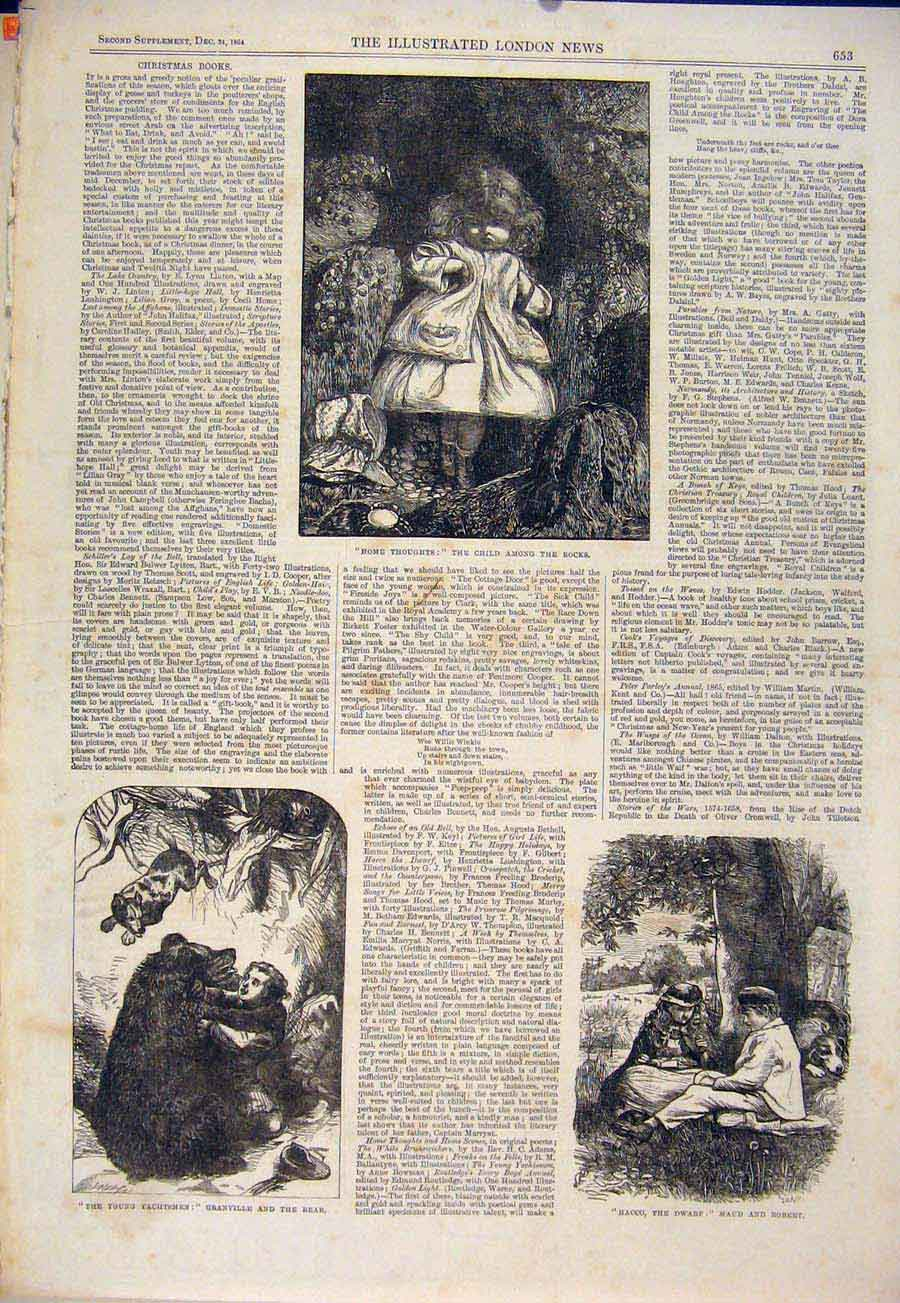 Print Sketches Bear Children Yachtsmen 1864 53Maa1 Old Original