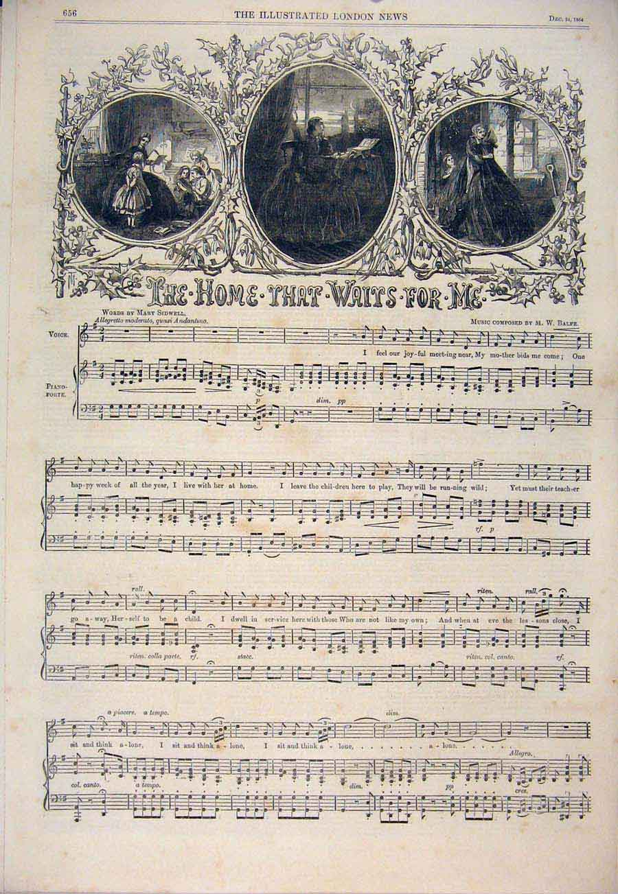 Print Song Sheet Home That Waits Sidwell Balfe Music Score 56Amaa1 Old Original
