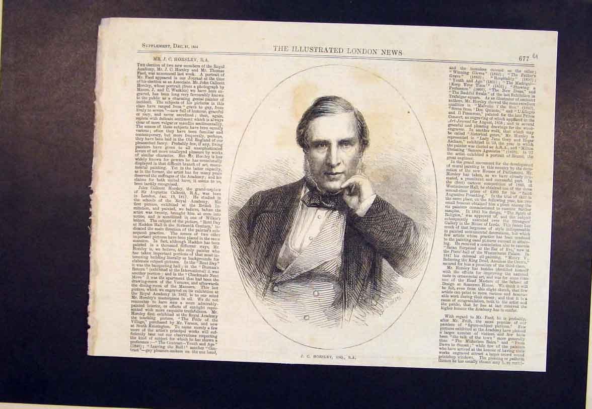 Print Portrait Horseley Royal Academy 1864 77Umaa1 Old Original
