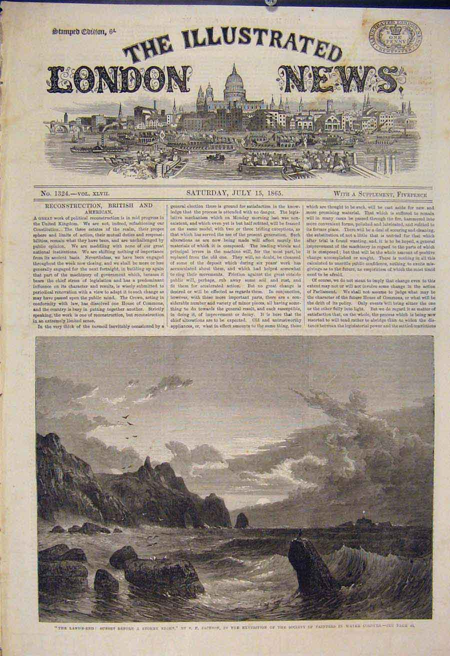 Print Land'S End Jackson Stormy Night Sea Cliff Fine Art 1865 30Maa1 Old Original