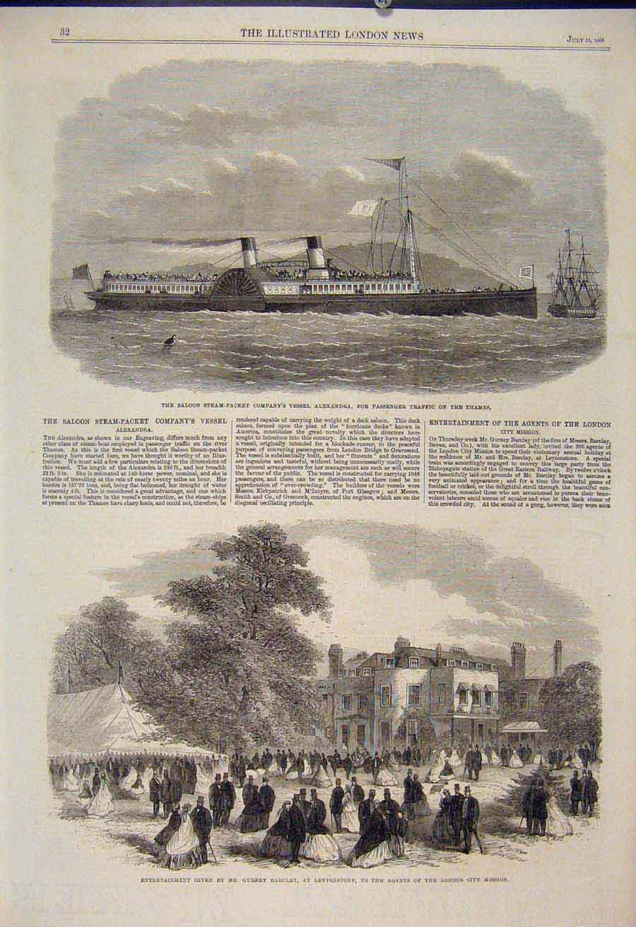 Print Steam Packet Alexandra Passener Thames Barclay 1865 32Maa1 Old Original