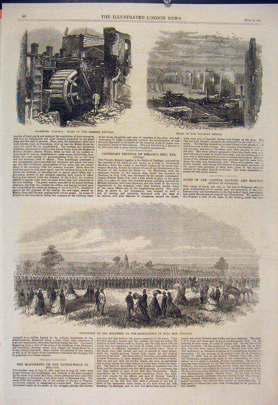 Print Richmond Virginia Carbine Factory Railway America 1865 48Maa1 Old Original