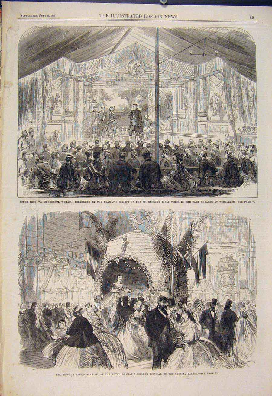 Print Wimbledon Theatre College Festival Crystal Palace 1865 69Maa1 Old Original