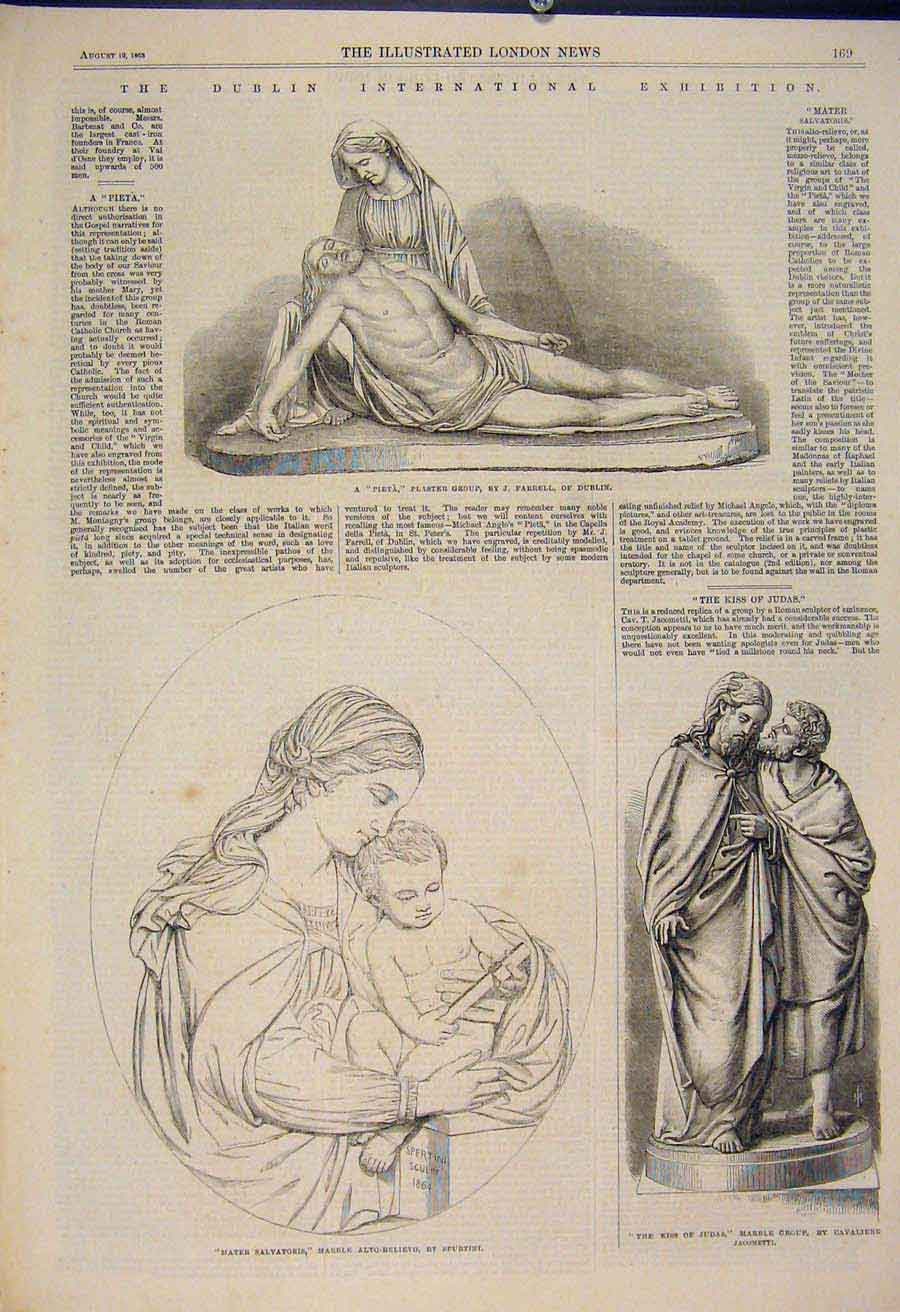 Print Dublin International Exhibition Statue Ireland 1865 69Amaa1 Old Original