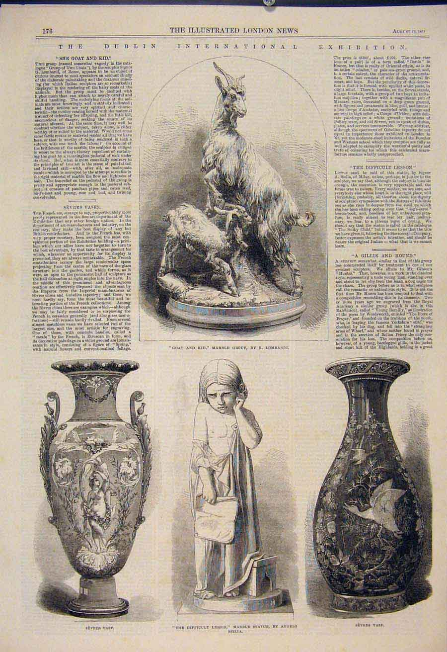Print Dublin Interantional Exhibition Ireland Marble Vase 76Amaa1 Old Original