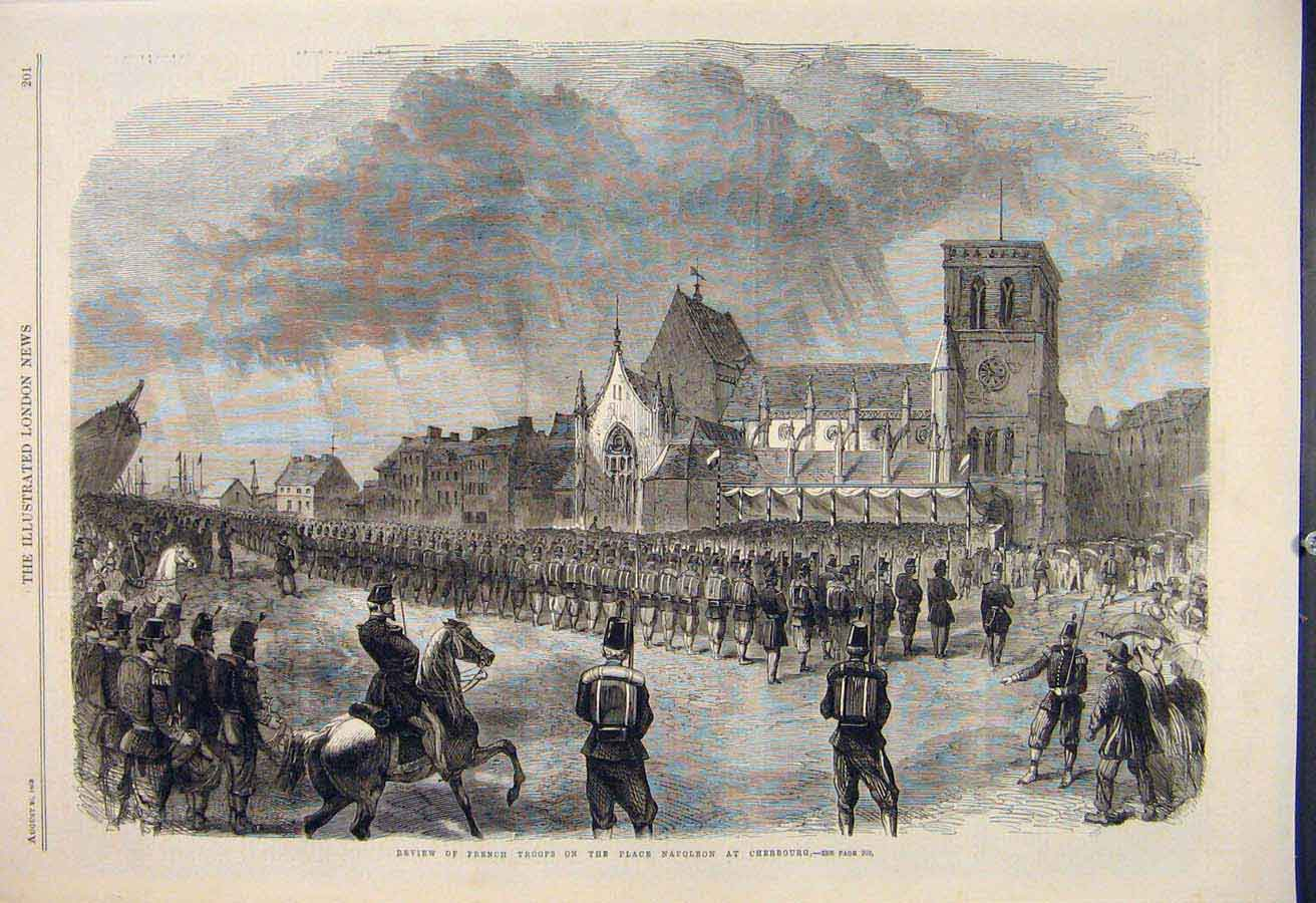 Print Review French Troops Place Napoleon Cherbourg 1865 01Maa1 Old Original