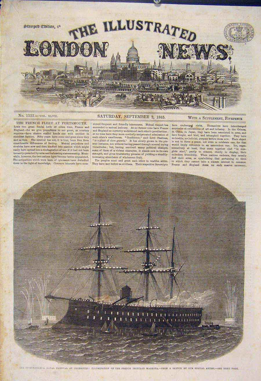 Print Naval Festival Cherbourg French Ironclad Magenta 1865 06Maa1 Old Original