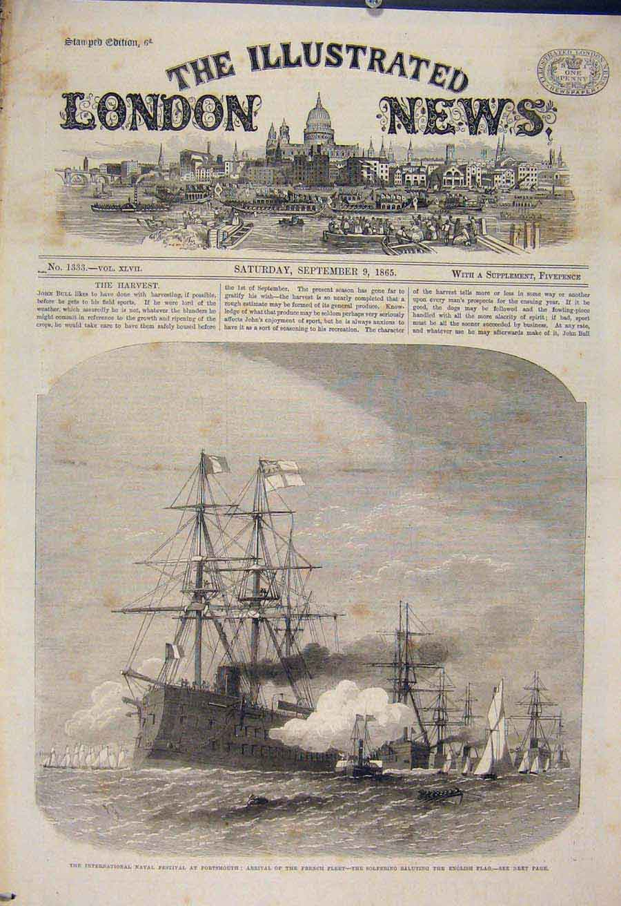 Print Naval Festival Portsmouth French Fleet Solferino 1865 30Maa1 Old Original