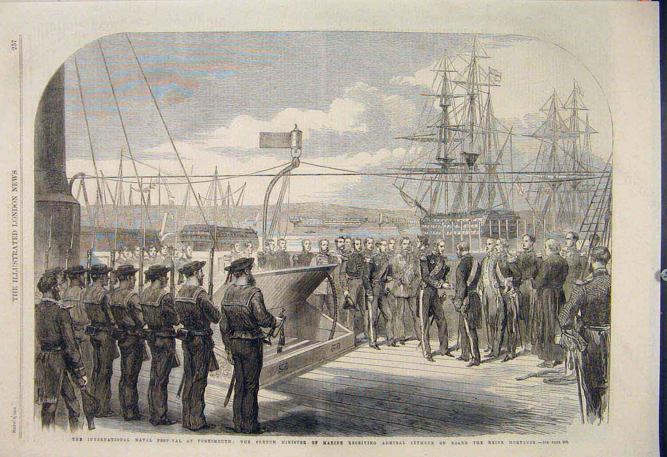 Print Naval Festival Portsmouth French Admiral Seymour 1865 37Maa1 Old Original
