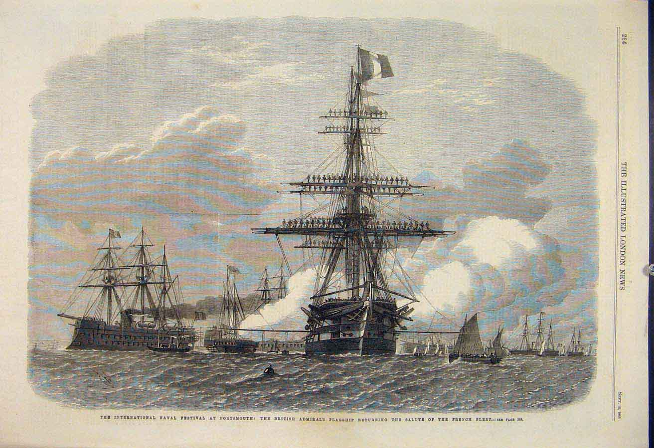 Print Naval Fesitval Portsmouth British Admiral Flagship 1865 64Maa1 Old Original