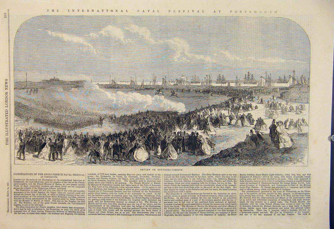Print International Naval Fesitval Portsmouth Banquet 1865 69Amaa1 Old Original