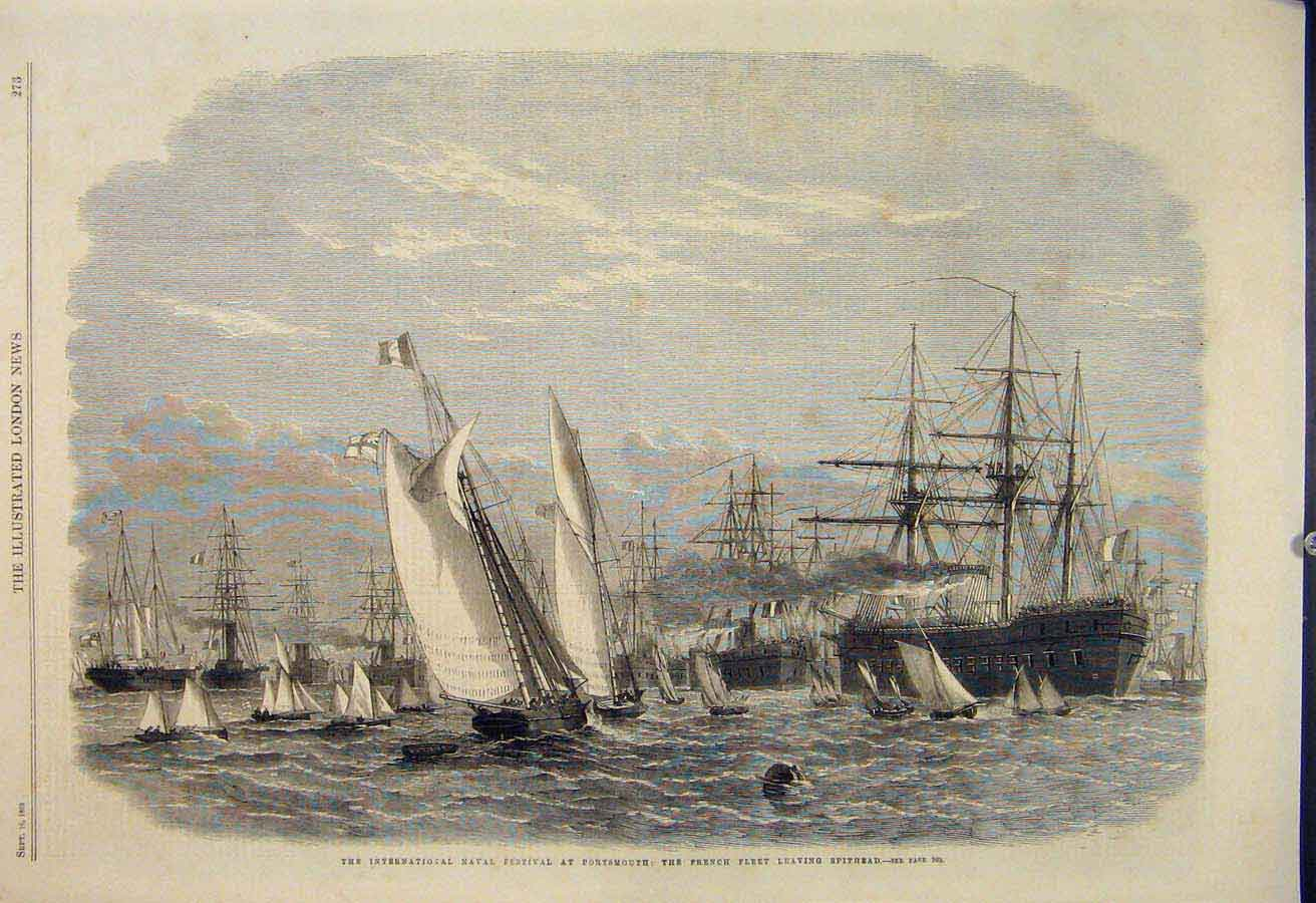 Print Naval Festival Portsmouth French Fleet Spithead 1865 73Maa1 Old Original