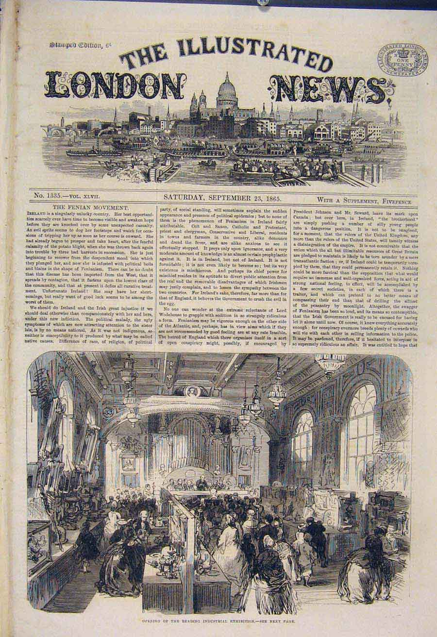 Print Reading Industrial Exhibition Opening 1865 78Maa1 Old Original