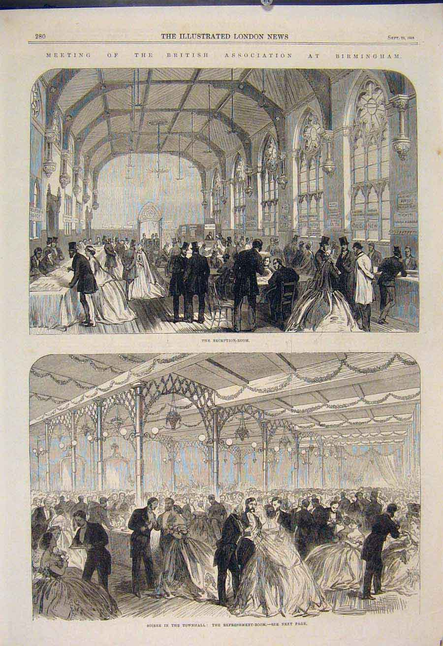 Print British Association Birmingham Soiree Townhall 1865 80Maa1 Old Original