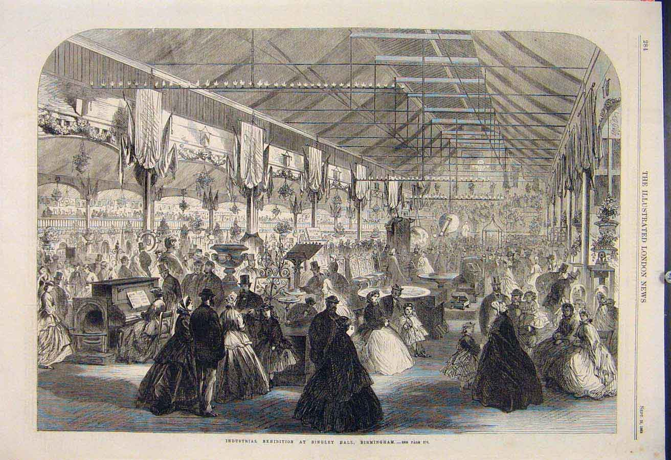 Print Industrial Exhibition Bingley Hall Birmingham 1865 84Maa1 Old Original