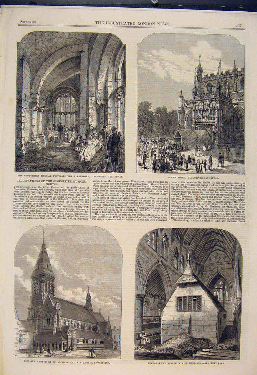 Print Gloucester Cathedral Music Festival Church Nave 1865 97Amaa1 Old Original