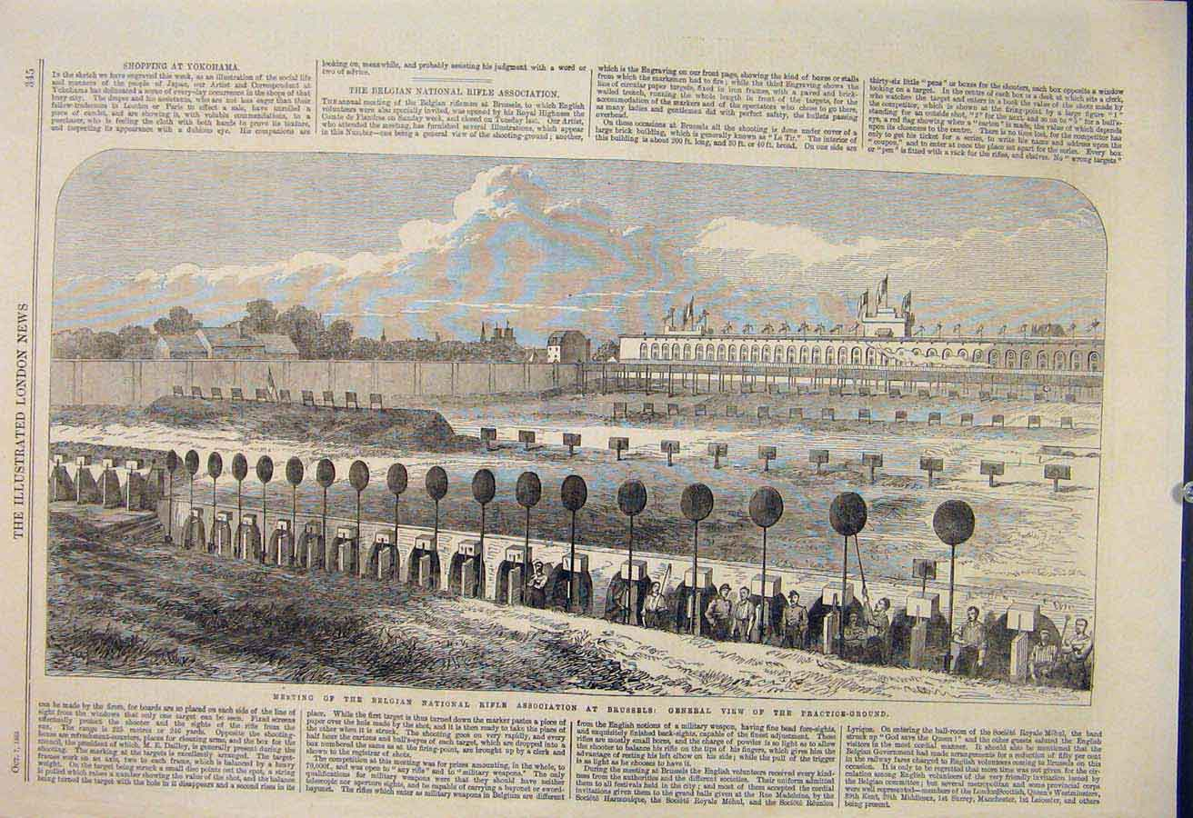 Print Belgian National Rifle Association Brussels 1865 45Maa1 Old Original